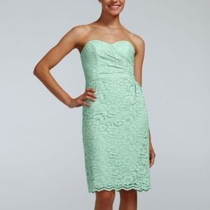 David's Bridal Mint Green Lace Strapless Dress